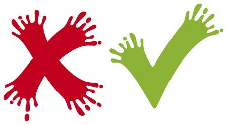 check marks: check and cross mark  validation icon, check marks  Illustration