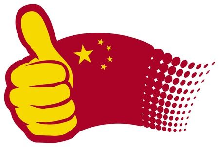 cantonese: China flag  Hand showing thumbs up