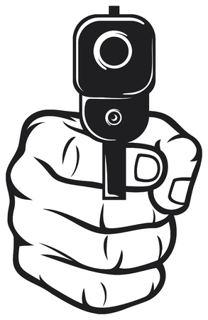 gun shot: hand with gun  pistol , gun pointed Illustration