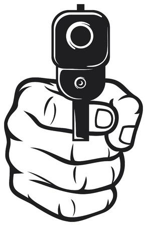 pistole: mano con la pistola pistola, pistola puntata Vettoriali