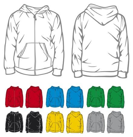 재킷: 지퍼 포켓 후드 티와 남자의 두건이있는 스웨트 셔츠