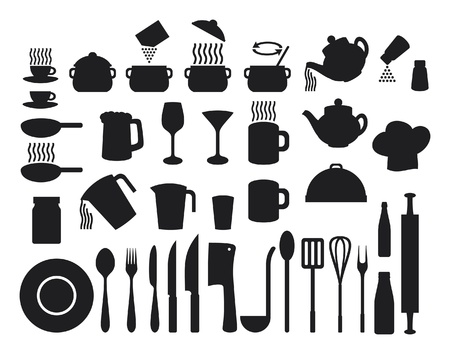 glass cutter: Kitchen icons set  set of icons on a theme kitchen