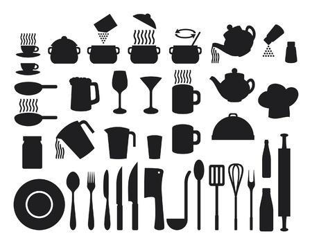 whisk: Kitchen icons set  set of icons on a theme kitchen