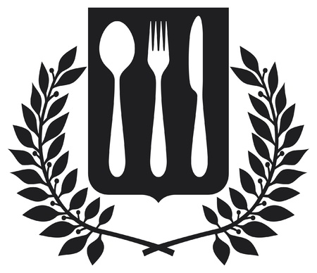 stainless steel kitchen: fork and spoon knife design  fork and spoon knife symbol  Illustration