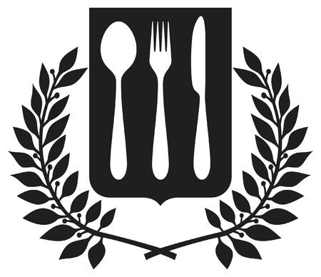 metal knife: fork and spoon knife design  fork and spoon knife symbol  Illustration