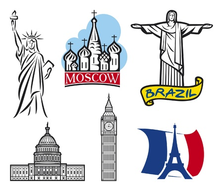 capitol hill: international historical landmark monuments  Eiffel Tower, Big Ben, Statue of Liberty, U S  Capitol, St  Basil s Cathedral in Red Square - Moscow, Christ the Redeemer statue in Brazil, landmarks set  Illustration