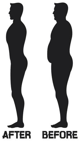 削減: ダイエット美しさの前に男を失う重量変換、男ダイエットとエクササイズ脂肪から前に、と後、前にフィットネスとダイエット男性のシルエットの後