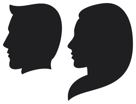 side by side: face man and woman  silhouette head of a man and woman, face man and girl