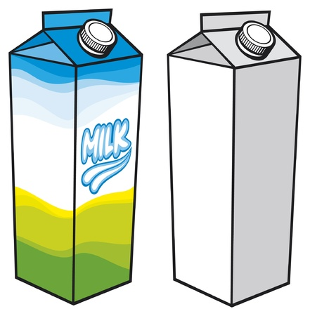 milk carton  milk carton with screw cap, carton box, milk box, milk carton packages, milk pack  Vector