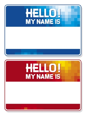 name tag: hello my name is card  blue and red name tag blank sticker hello my name is, name tag blank stickers set  Illustration