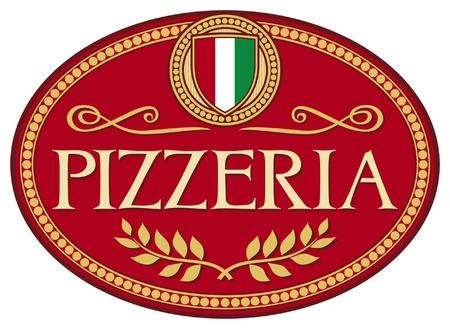 restaurante italiano: pizzería de diseño de etiquetas