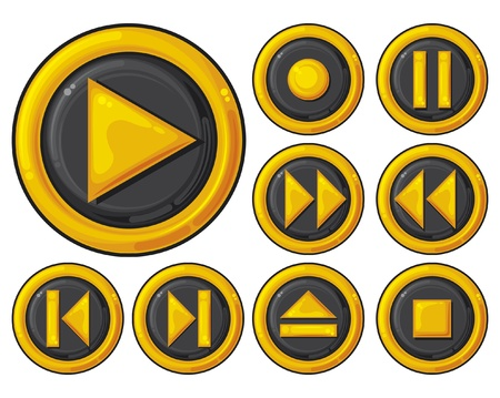 video player: player buttons set  set of media icons, media player icons, media player button set  Illustration