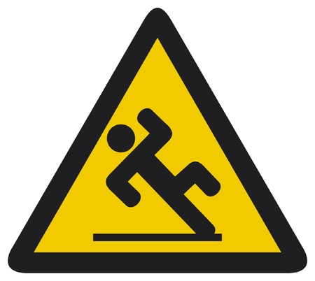 health risks: wet floor sign  slippery warning symbol, wet floor caution sign  Illustration