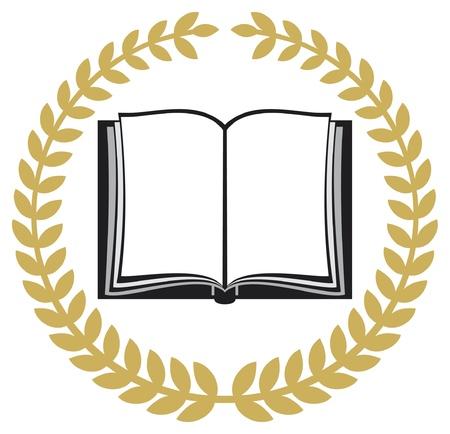 remise de prix: livre ouvert et couronne de laurier