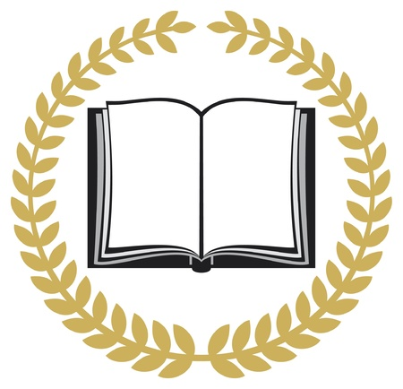 open book and laurel wreath Vector