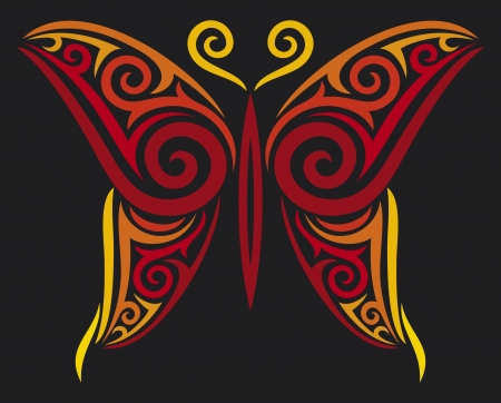butterfly for tattoo design, tattoo style  Vector