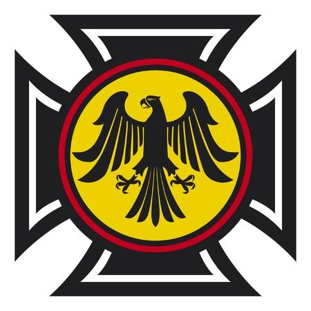 teutonic: aquila e il simbolo della croce Vettoriali