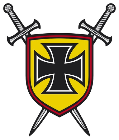 iron cross: heraldic composition - shield, crossed swords and cross  coat of arms