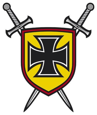 heraldische Komposition - Schild, gekreuzte Schwerter und Kreuz Wappen