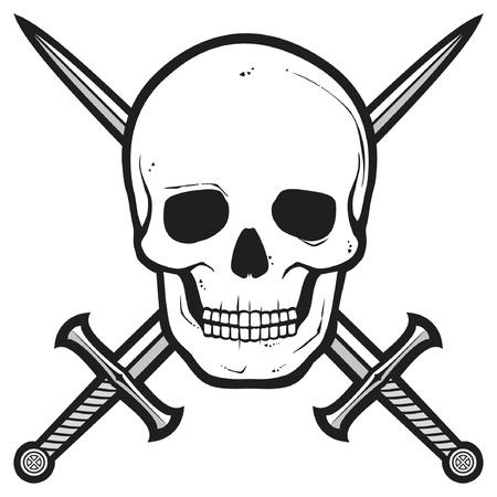crossed swords: Pirate cr�neo cr�neo y espadas cruzadas Vectores