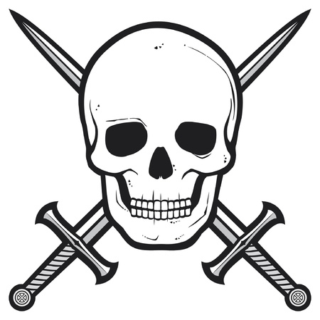 Pirate skull  skull and crossed swords  Vector