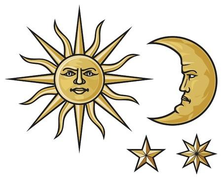 sol y luna: sol, la luna creciente y las estrellas