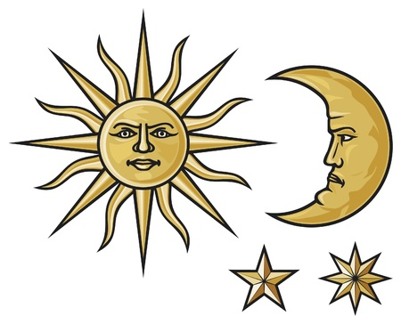 moon and stars: sun, crescent moon and stars
