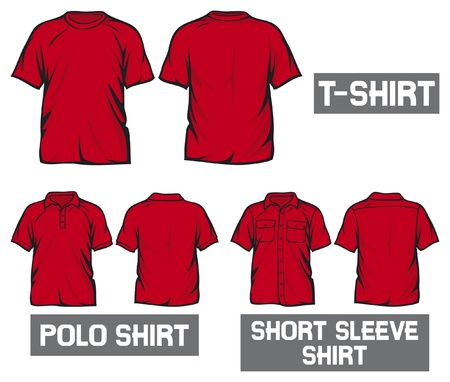 red t-shirt, short sleeve shirt and polo shirt Vector