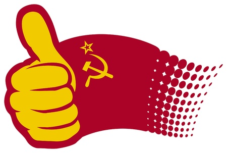 hand showing thumbs up: USSR flag  Soviet Union flag   Hand showing thumbs up