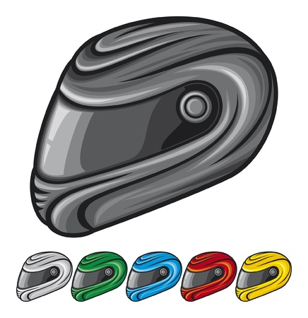 foreshortening: motorcycle helmet  black, red, yellow, green, white and blue set
