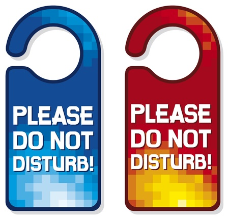 knocking: please do not disturb sign set  hotel hanger sign