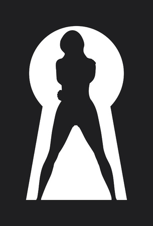 silhouette of a woman figure seen through a key hole  keyhole with sexy girl, a female silhouette in a keyhole