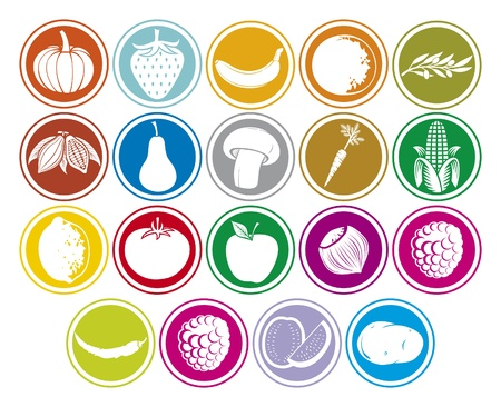 fruits and vegetables icons buttons set  banana, pumpkin, orange, lemon, pear, tomato, hazelnut, strawberry, cocoa beans, apple, watermelon, olive, corn, mushroom, potato, chili pepper, raspberry Vector