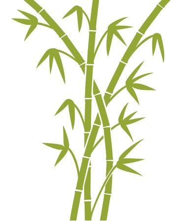 zen garden: green bamboo stems Illustration