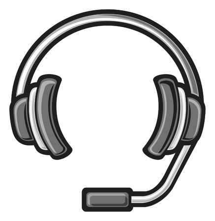 telephony: call center headset  DJ headphones, headset symbol, headphone icon  Illustration