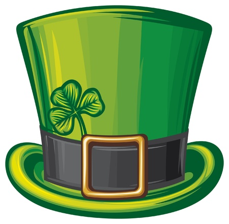 st patrick green hat  leprechaun hat, saint patrick s day leprechaun hat, patrick s head, irish hat  Vector