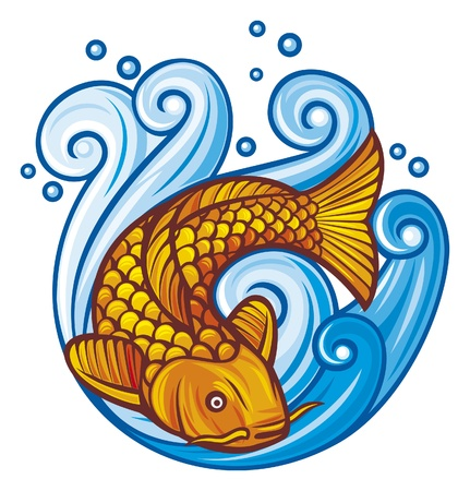 koi: koi fish  koi fish in the sea waves  Illustration