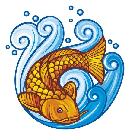 pez carpa: peces koi koi peces en las olas del mar Vectores