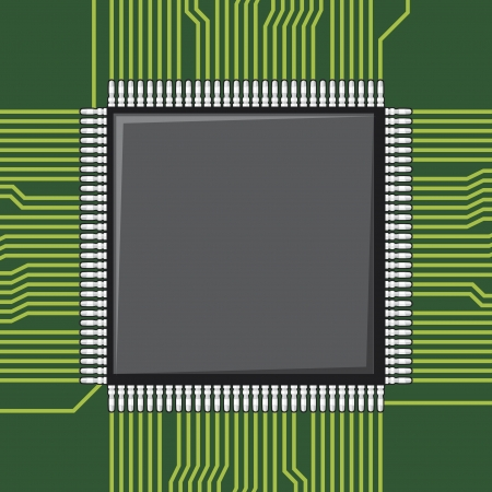 microprocessors: computer microchip  electronic component  Illustration
