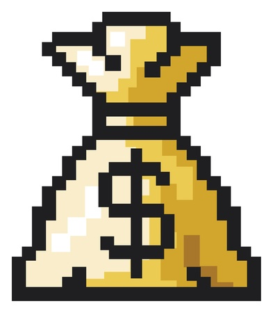 moneybag: Money bag with dollar sign in pixels
