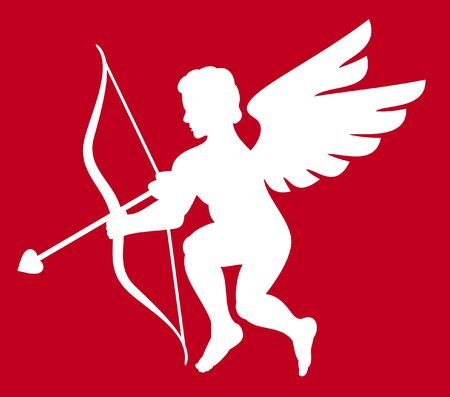 cupid silhouette isolated on white  silhouette cupid with wings, valentine s day cupid  Vector
