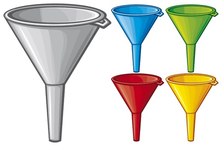 lubricate: illustration of funnel  plastic funnel for domestic use, plastic funnel for transferring liquid
