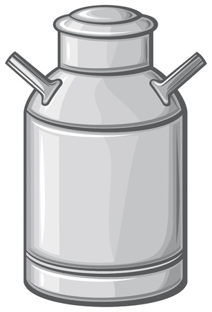 pasteurized: milk can  retro aluminum milk can  Illustration