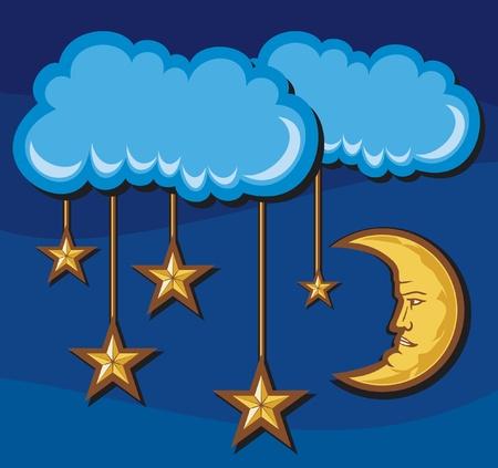 croissant de lune: illustration d'un croissant de lune avec des �toiles dans la nuit du ciel nocturne, les �toiles et le mois dans le ciel nocturne