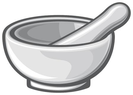 white porcelain mortar and pestle  white pestle, pharmacy mortar and pestle  Stock Vector - 17920930