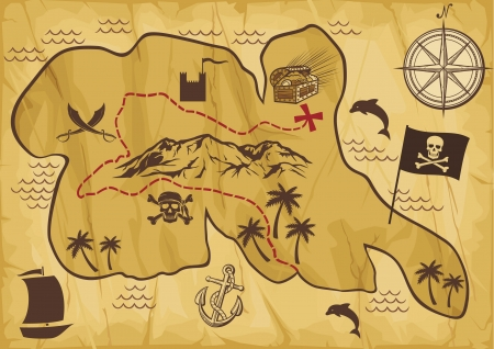 explorer: map of treasure island  treasure map, antique map, old map, old pirate map, illustration of the old maps to find treasure, faded old map, treasure map showing island with coast and compass star  Illustration