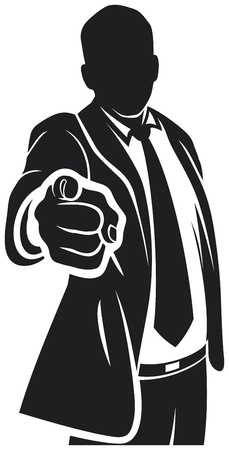 Businessman pointing to the viewer Vector