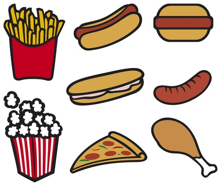 snacks: fast food  hot dog, pizza, hamburger, sandwich, popcorn, french fries, drumstick