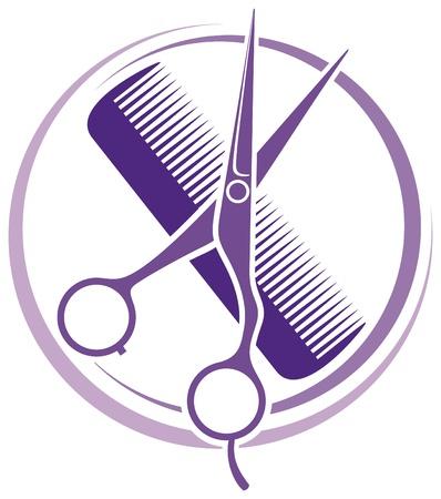 sal�n: Sal�n de pelo corte de pelo dise�o o s�mbolo peluquer�a
