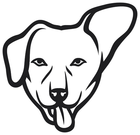 dog tag: dog face Illustration